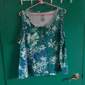 Basic editions green and blue floral tanktop
